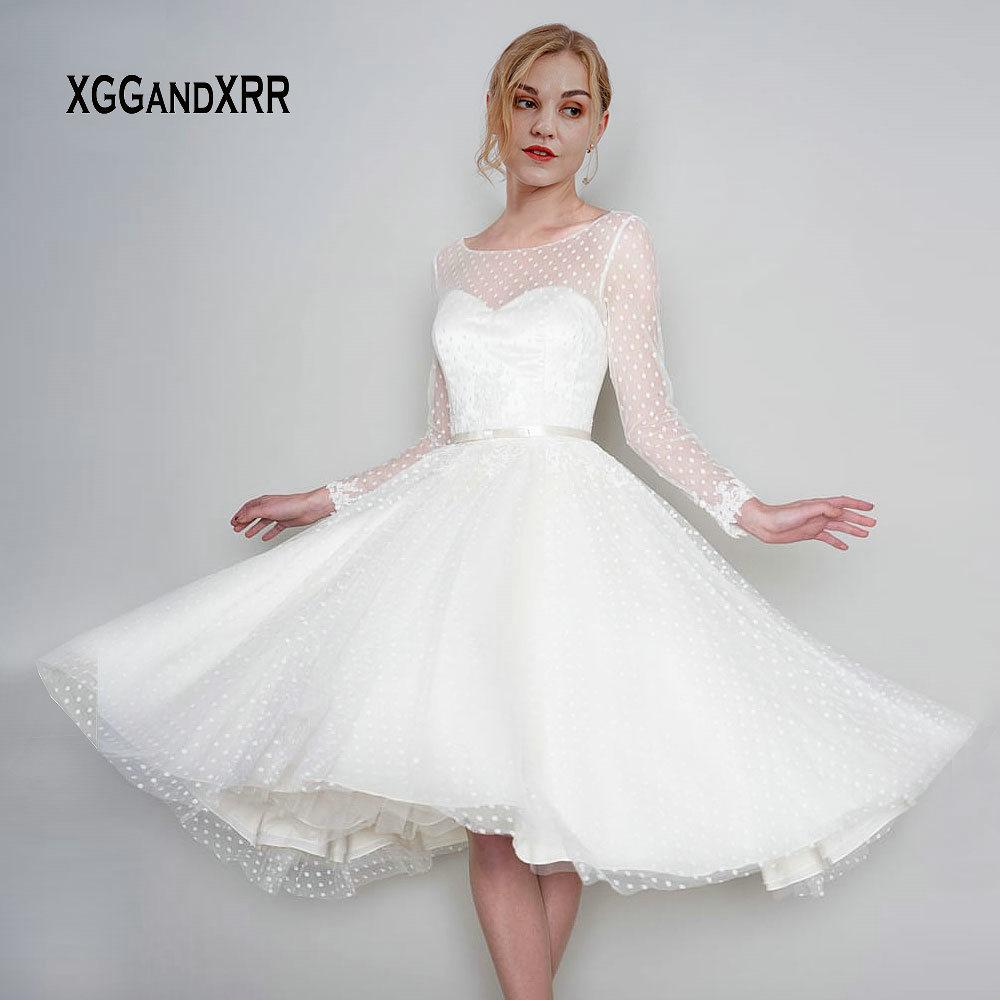 Elegant Mid Calf Short Wedding Dress 2019 Long Sleeves