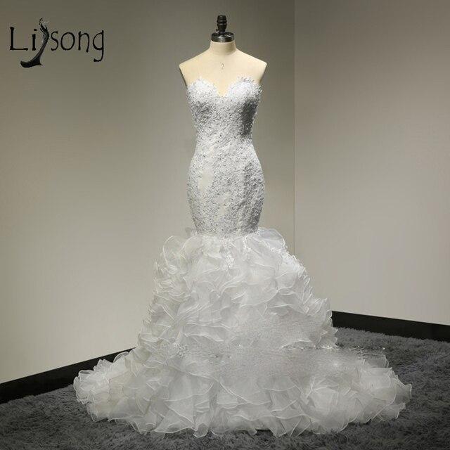 Dubai Sexy Mermaid Bridal Dresses Sheer Back Appliques Beaded Wedding Gowns  Off Shoulder Plus Size Vestidos De Novia Cut- Out 38098bcfe750