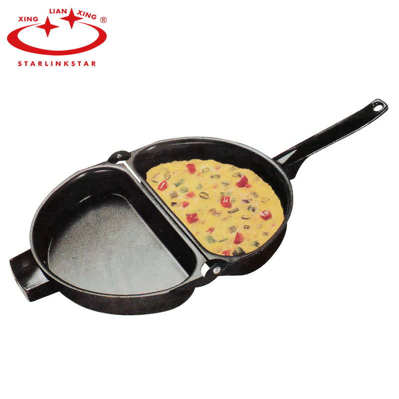 Unique Design Non-stick Folding Omelette Pan Hand Frying Pan Folding Pot Kitchen Stainless Iron Double Side Grill Pan 23*14cm