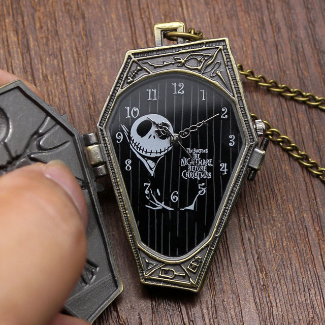 Popular Nightmare Before Christmas Vintage Quartz Pocket Watch Necklace Pendant for Chirldren Mens Womens Relogio De Bolso Gifts