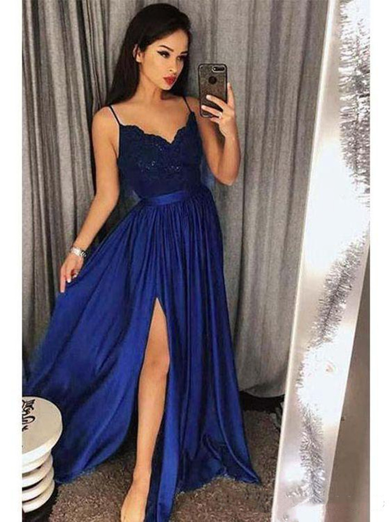 Hunter Green Evening Dresses 2019 Robe De Soiree Elegant Floor Length Sexy Lace Spaghetti Strap Split V Neck Formal Prom Gowns in Evening Dresses from Weddings Events