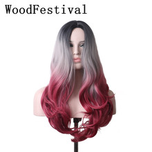 WoodFestiva Heat Resistant Synthetic Wigs For Women Ombre Cosplay Wig Long Wavy wignee hand made front ombre color long blonde synthetic wigs for black white women heat resistant middle part cosplay hair wig