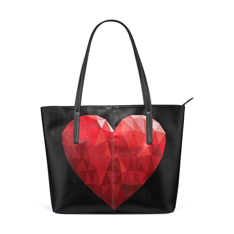 Shoulder Bags Red Heart Women Handbag Diamond Bling Print Leather Handbags Large Capacity Bags for Girls Purse Tote Handbag 2018 girls print purse