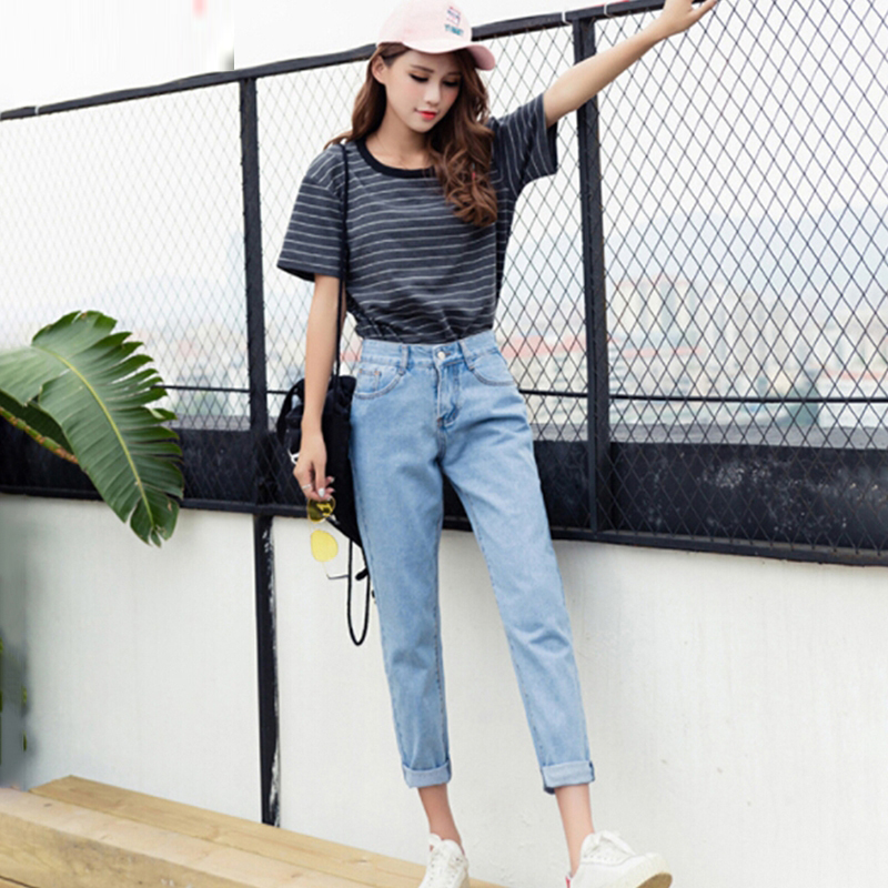 Bigsweety Retro Women's Jeans New Vintage Slim High Waist Pants Nine-Length Loose Student Cowboy Pants Fashion Denim Pants