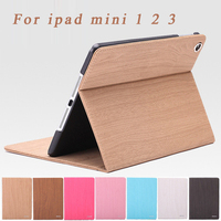 Hot Sale Luxury Wood Grain Flip Ultra Thin Foldable Stand Leather Case Smart Cover For Apple