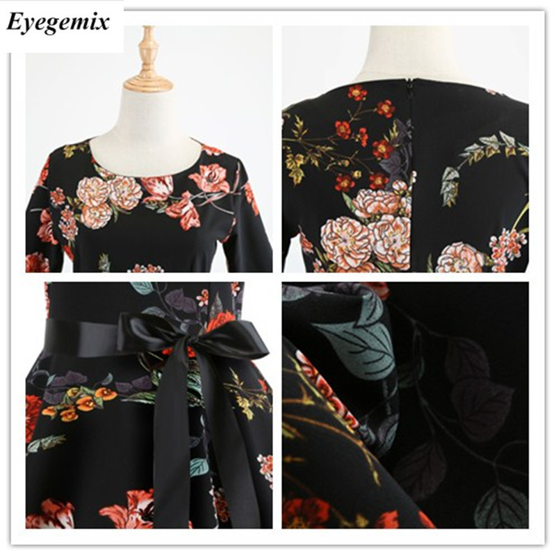 b081349c64ce8 ... Casual Women Big Swing Dress O-Neck 3/4 Sleeve Floral Print Dresses  Spring ...