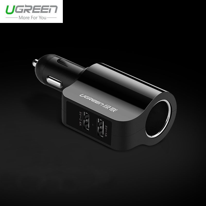 Ugreen Extension Car Phone Charger For iPhone X 8 7 6 Plus USB Auto Adapter For iPad Xiaomi Mi6 Mi5 Samsung S8 S7 S6 Edge LG G6