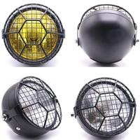 Universal Motorcycle Headlamp DC 12V Motorbike Vintage Headlights Scooter Net Head Lamps Motor Round Front Lights Spotlight