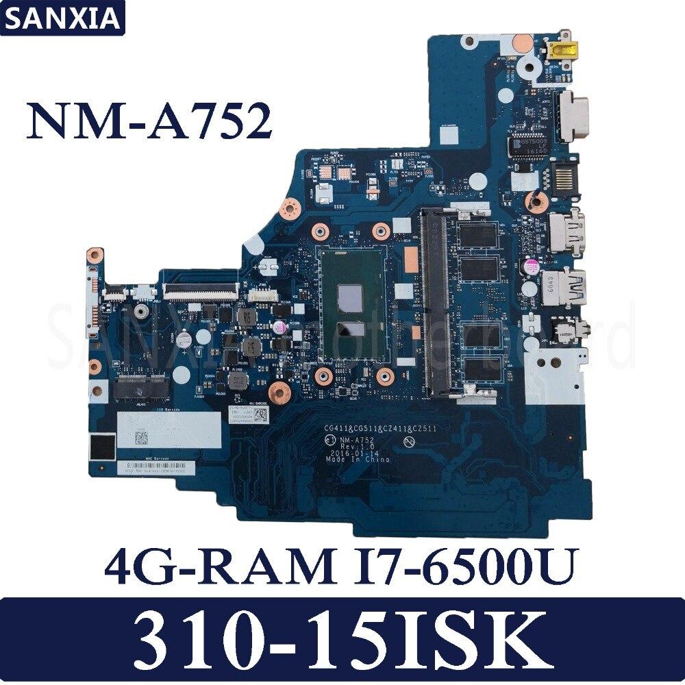 KEFU NM A752 Laptop motherboard for Lenovo 310 15ISK original mainboard 4G RAM I7 6500U