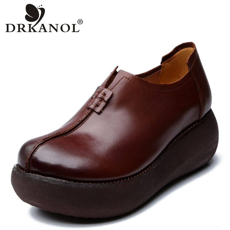 DRKANOL 2019 Genuine Cow Leather Flats Heel Shoes Women Flat Platform Shoes Vintage Handmade Round Toe