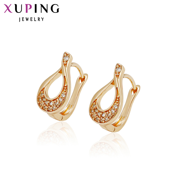 11 Xuping Elegant Earring New Design Gold Color Plated Synthetic Cz Whole Jewelry Wedding Hoops Earrings