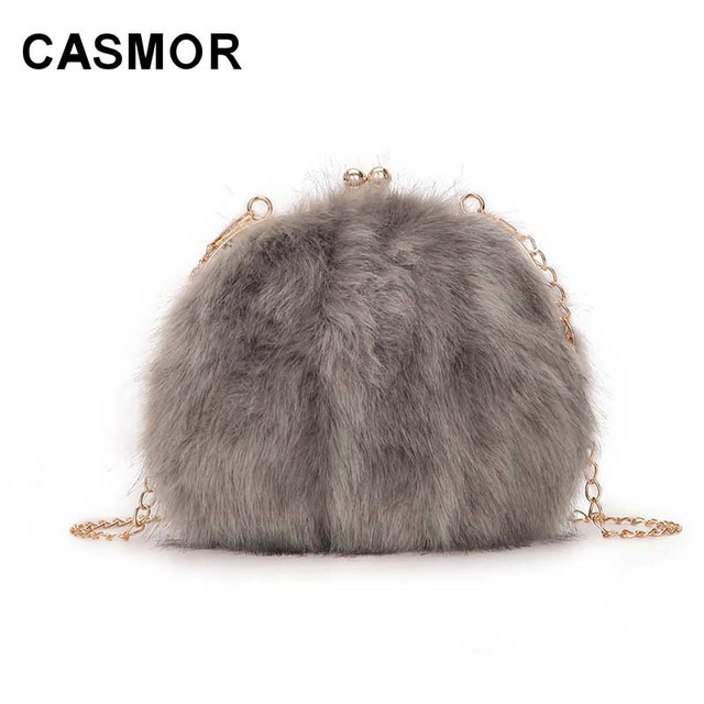 CASMOR Fashion Designer Real Fox Fur Women Messenger Bag Winter New Women  Chain Shoulder Bag Luxury 924b133b0de64