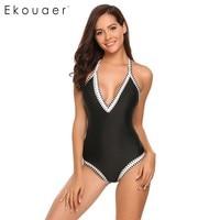 Ekouaer Sexy Deep V Neck One Piece Swimsuit Patchwork Monokini Push Up Padded Swimwear Women Bodysuits