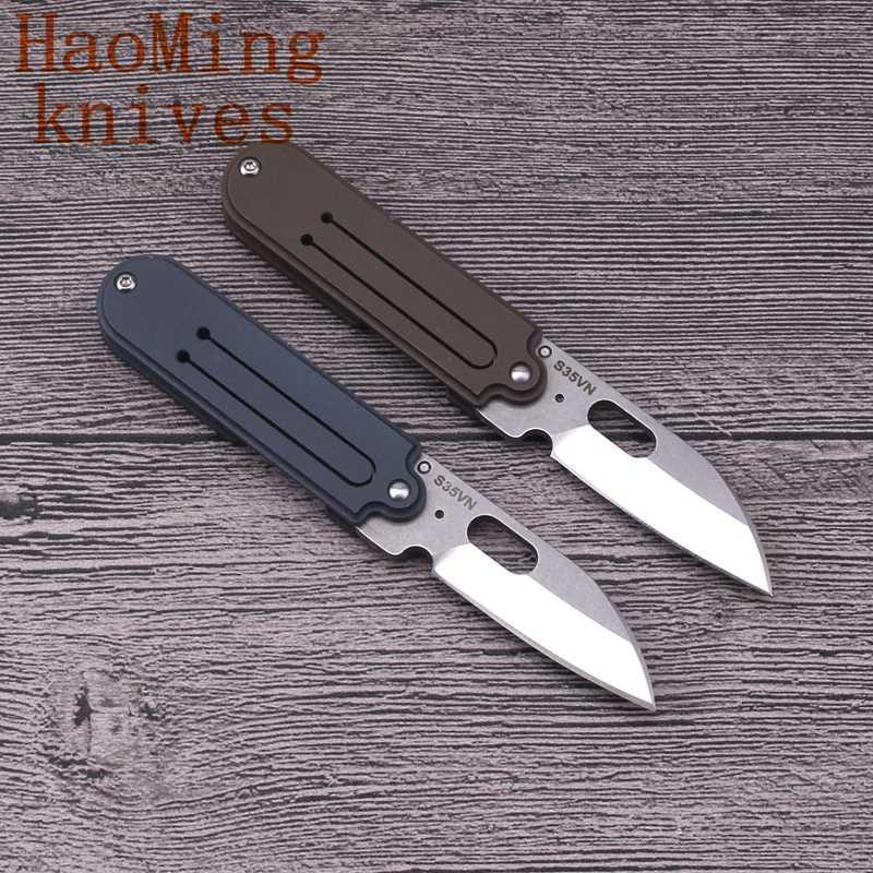 Titanium مقبض البسيطة جيب سكين للفرد S35VN الصلب التخييم سكينة سرفايفل سلسلة مفاتيح التكتيكية السكاكين في الهواء الطلق الصيد EDC أداة