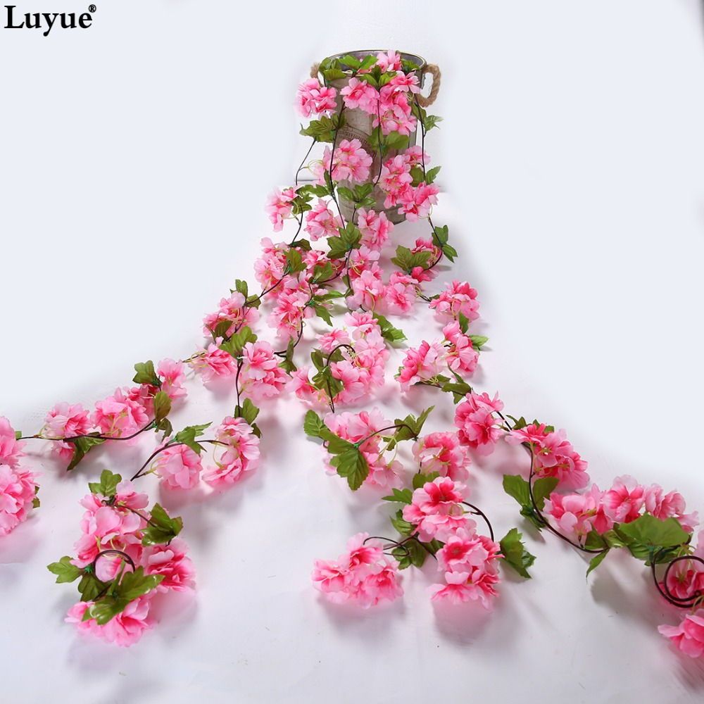 Online buy wholesale artificial cherry blossom from china luyue silk wedding decoration flower vine 233cm long flowers flower rattan artificial cherry blossoms flor de dhlflorist Image collections