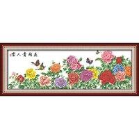 Фортуна приходит с цветущими цветами китайские наборы для вышивки крестом экологического хлопка штампованные печатных 11 DIY Рождественский