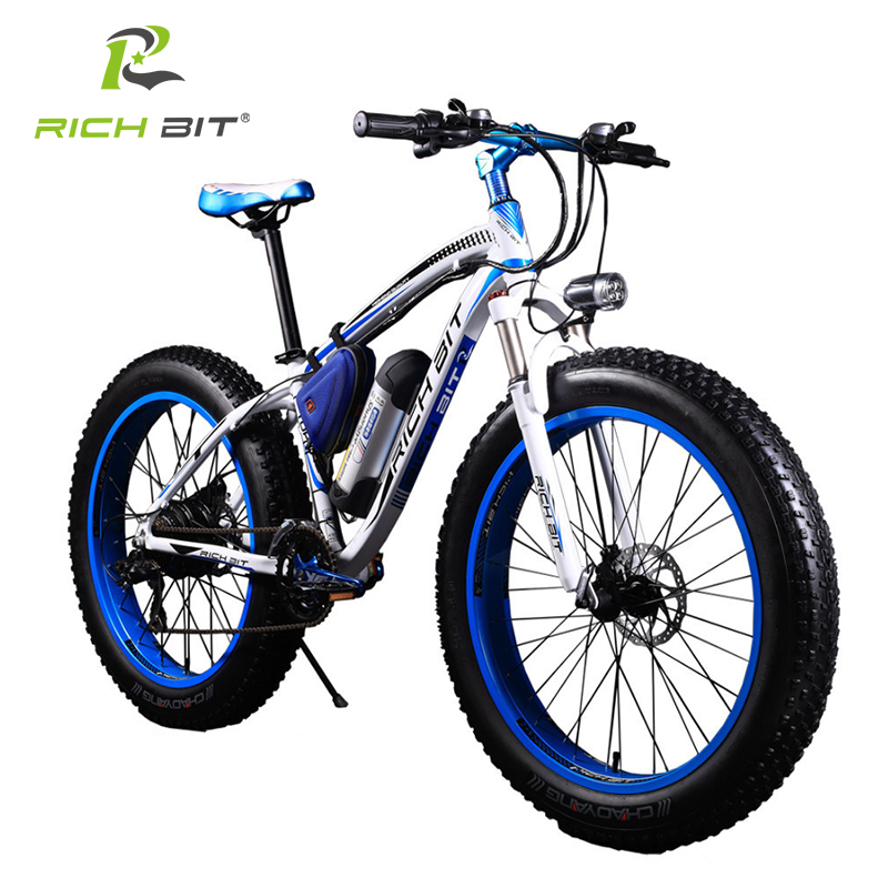 RichBit RT-012 New Electric Bike Lithium Battery Electric Snow Bike Electric Mountain Bicycle Electric Cycling Blue Orange Bike