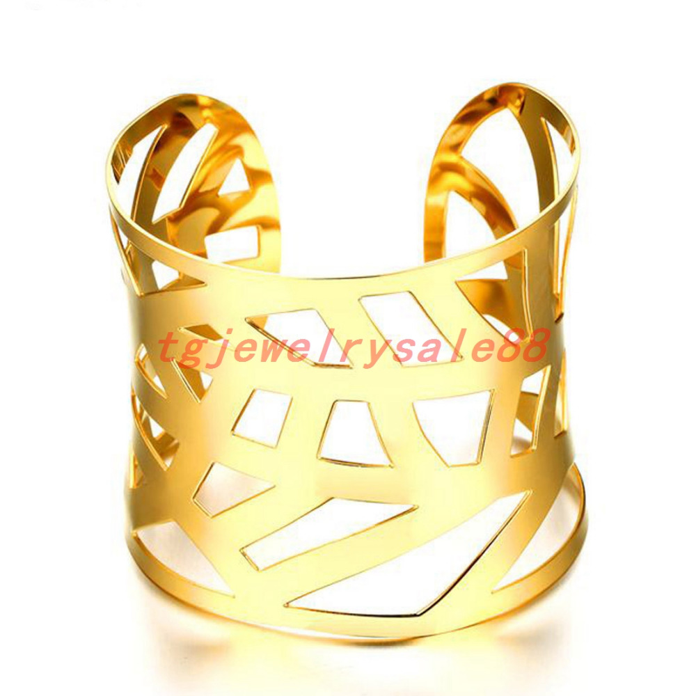 Huge Cuff Bangles Bracelets 316L Stainless Steel Fashion Jewerly Gold Color Elegance Charm Women Luxury Top Grade Gifts