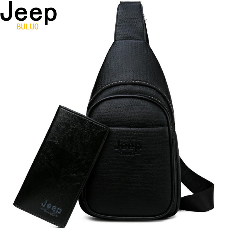 JEEP BULUO Men Crossbody Bags High Quality Leather Chest Bag For Young Man Fashion Casual Male Sling Bags Travel Shoulder Bag