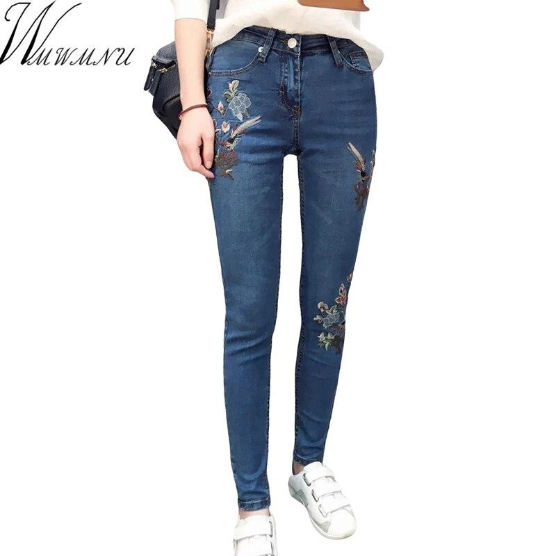 Wmwmnu 2017 new style skinny jeans women mid waist jeans female blue denim pencil embroidery pants