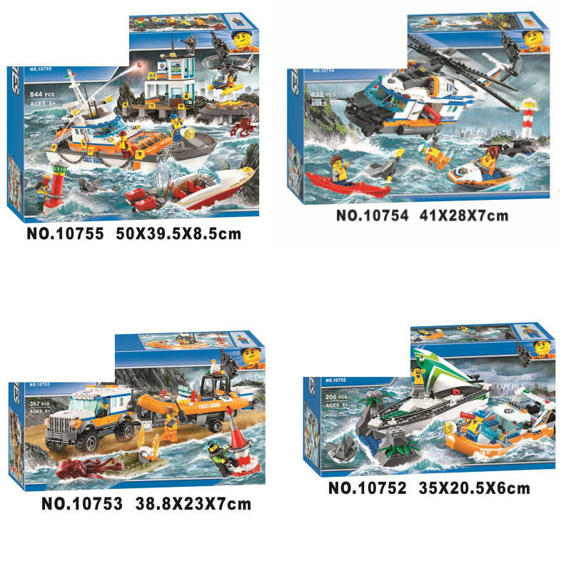 6 styles City Series Police Coast Guard Headquarters Base Building Blocks Bricks Toys for children gift legoing 60167 60166