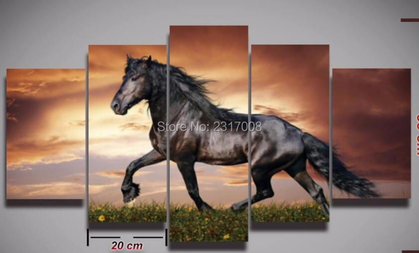 Printed modular picture beautiful horse animal painting 5pcs modern sunset landscape for home wall decor Canvas art Print poster