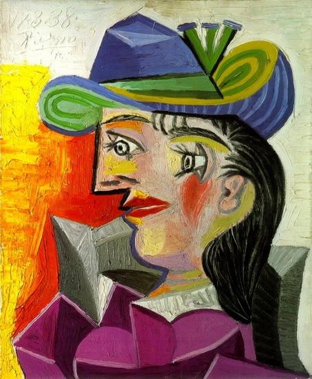 100% Reproduction à la main de peinture à l'huile de haute qualité sur toile de lin, femme avec un chapeau bleu, livraison DHL gratuite