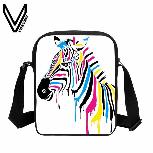Veevanv Casual Men Messenger Bag Zebra Printing Handbags Boys Mini Purse S Crossbody New