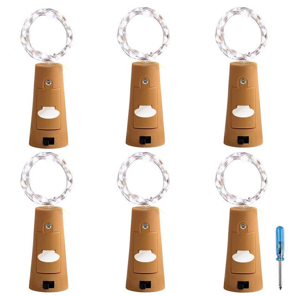 Işıklar ve Aydınlatma'ten Aydınlatma İpleri'de Şarap şişe ışıkları 6 paket 20 LED şarap Cork dize işıklar için cam turşu kavanozu peri işıklar pil kumandalı parti düğün için Chr