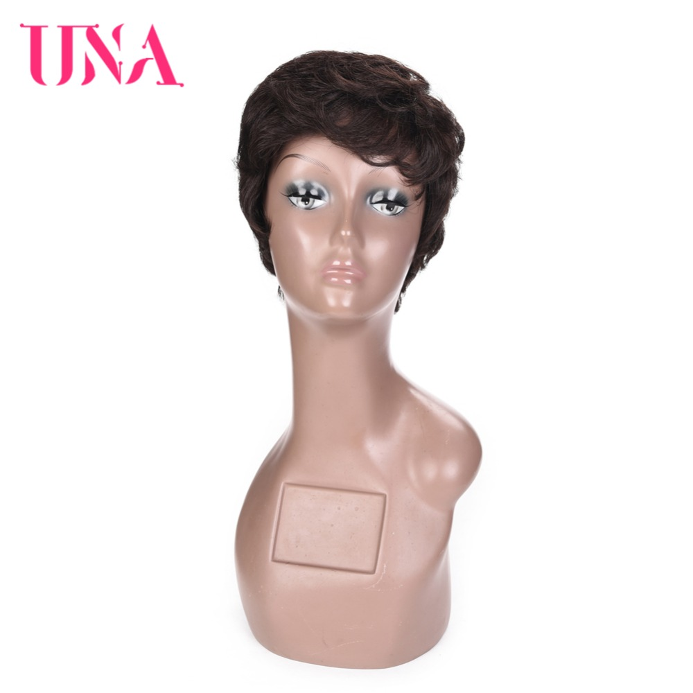 UNA Short Straight Wigs Indian Straight Hair Wigs Non Remy Indian Hair Wigs 120 Density Short Human Hair Wigs For Women LDH6091 in Human Hair Lace Wigs from Hair Extensions Wigs