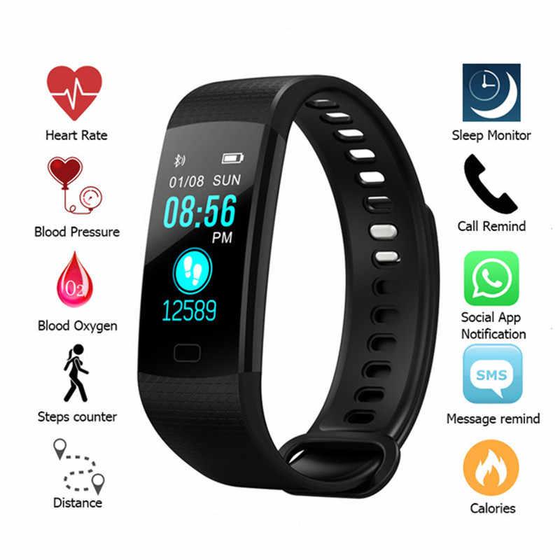 2019 смарт-браслет с Bluetooth для измерения артериального давления, Топ смарт-браслет с цветным экраном для женщин и мужчин, спортивные фитнес-часы с шагомером, смарт-часы для женщин