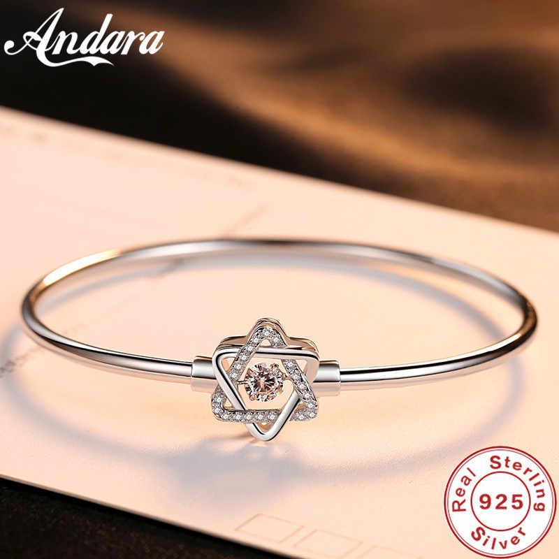Litego srebra 925 Sterling Silver bransoletka AAA cyrkon kryształ sześciokąt gwiazda bransoletka kobiety urok biżuterii