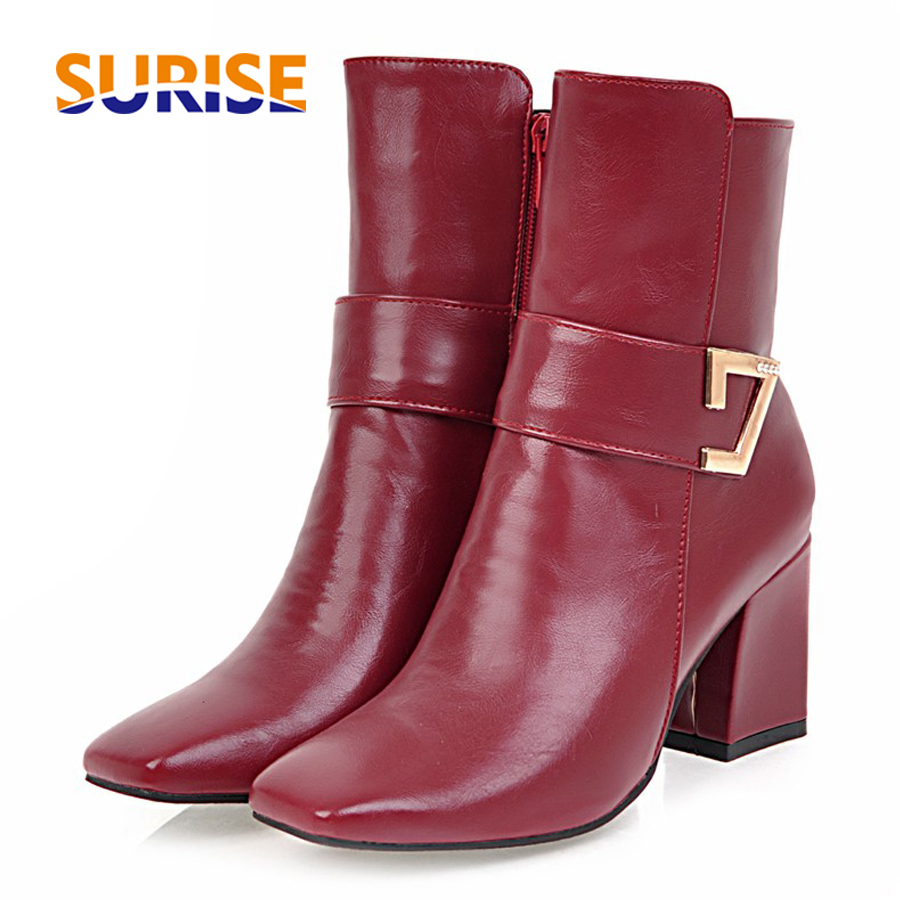 Women Ankle Boots PU Leather Short Plush 7cm High Thick Block Heel Square Toe White Zipper Winter Black Casual Office Lady Boots basic 2018 women thick heel ankle boots black pu fleeces round toe work shoe red heel winter spring lady super high heel boots