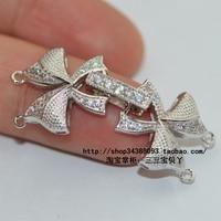 Gros bricolage accessoires rhodium platine collier fermoir à double 2 arc bracelet fermoir fermoir en argent boutons
