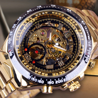 WINNER Brand Men Gold Watches Automatic Male Skeleton Mechanical Wristwatch with Stainless Steel Band