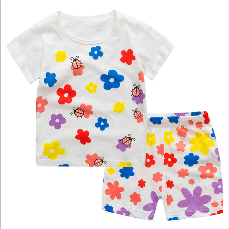 2017 Newest girls cotton clothing sets floral children clothes knitted baby girl summer tops + shorts jumping brand suits kids