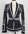 2016 Outono E Inverno Jaqueta Moda Terno Feito À Mão Cristais Beads Pérola Slim Fit Strass Feminino Blazer Outerwear Roupas
