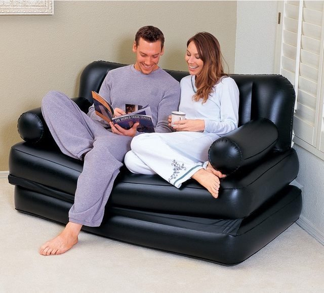 Two People Seat Large Bean Bag Lounger Solid Black Inflatable Air Sofa Living Room Couch Indoor Furniture Set