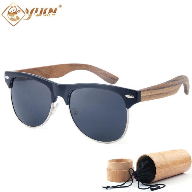 New 2017 grife óculos de sol de madeira feitos à mão braços óculos polarizados condução óculos de sol para homens e mulheres óculos de sombra 1503