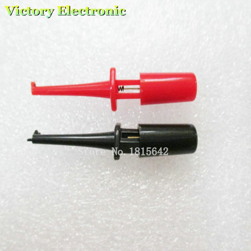 10PCS/LOT 5.8CM Round Single Hook Clip Test Probe For Electronic Testing Red And Black Color