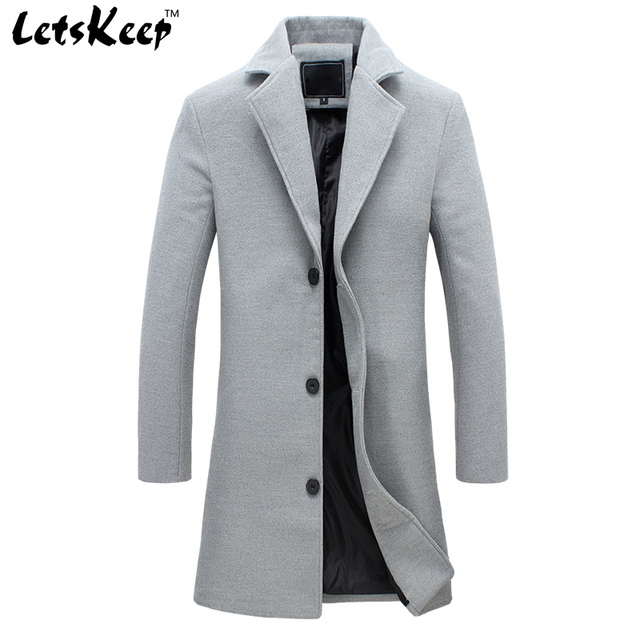 2016 LETSKEEP new winter wool long coat men warm black business overcoat mens Stylish woolen jacket praka EU size S-4XL, ZA194