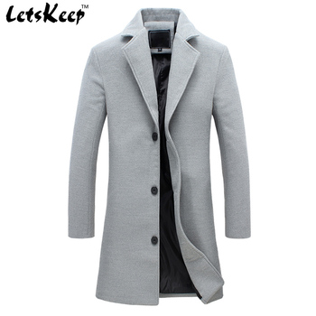 LetsKeep new autumn winter wool long coat men warm black business overcoat mens Stylish woolen jacket  Parka S-4XL, ZA194