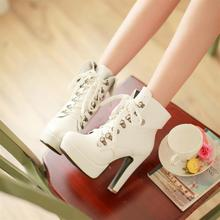 Autumn And Winter Warm High Heel Martin Boots Women'S Super High-Heeled Snow Shoes Female Square Cotton Padded Shoes H1050