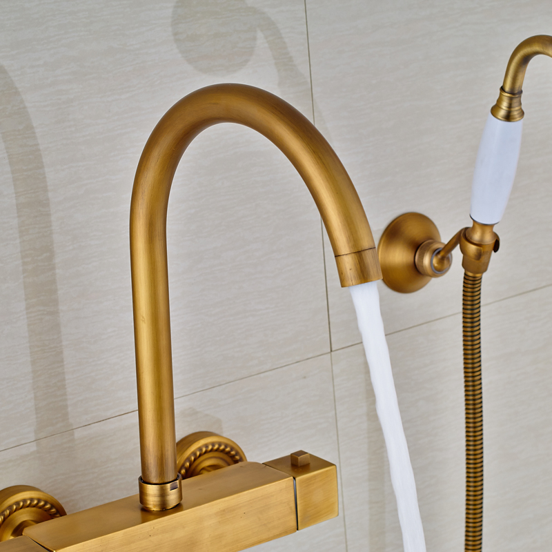 Square Thermostatic Mixer Valve Bathtub Faucet Wall Mounted With ...
