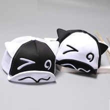 Toddler Baby Black and White Baseball Cap Cute Ear Summer Mesh Sun Hat Child Boys and Girls Trucker Flat Caps