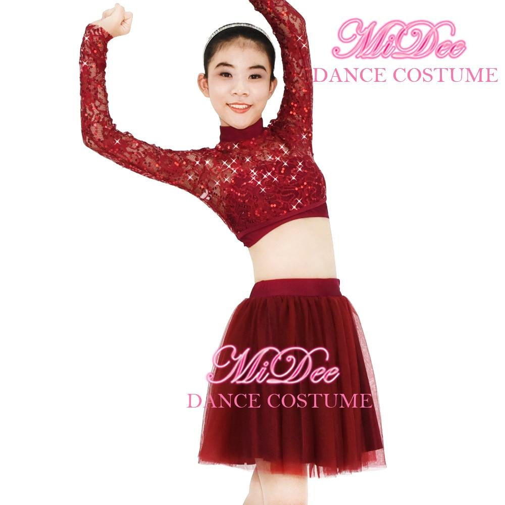MiDee Dance Costume 2 Parça Sequin Krujeva Çəkən Boyun Uzun Qolları Açıq Bitki Üstü və Tutu Etek