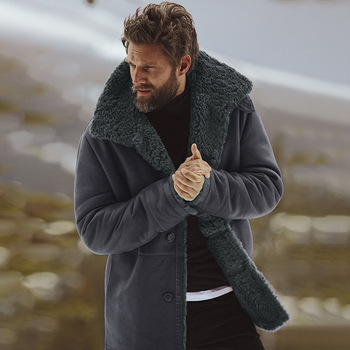 Cotton Warm Thick Long Sleeve Men Top Big Size Peacoat Windbreaker Mens Overcoat Male Blend