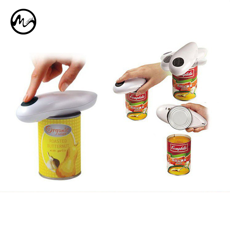 Mini One Touch Automatic Electric Can Tin Jar Opener & Bottle Wrench No Hands Battery Operated