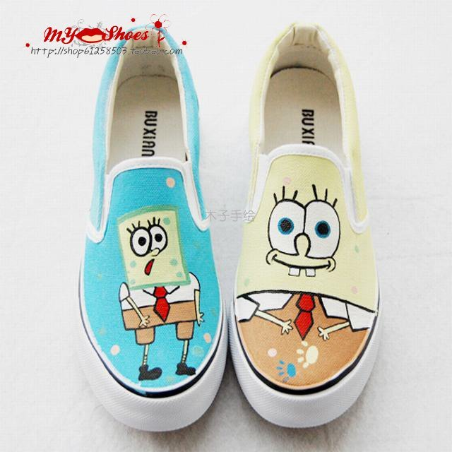 Spongebob 16-Free shipping/Hand Painted Shoes/men's women's girl's shoes/Canvas shoes/Sneaker shoes/High quality/Christmas gifts