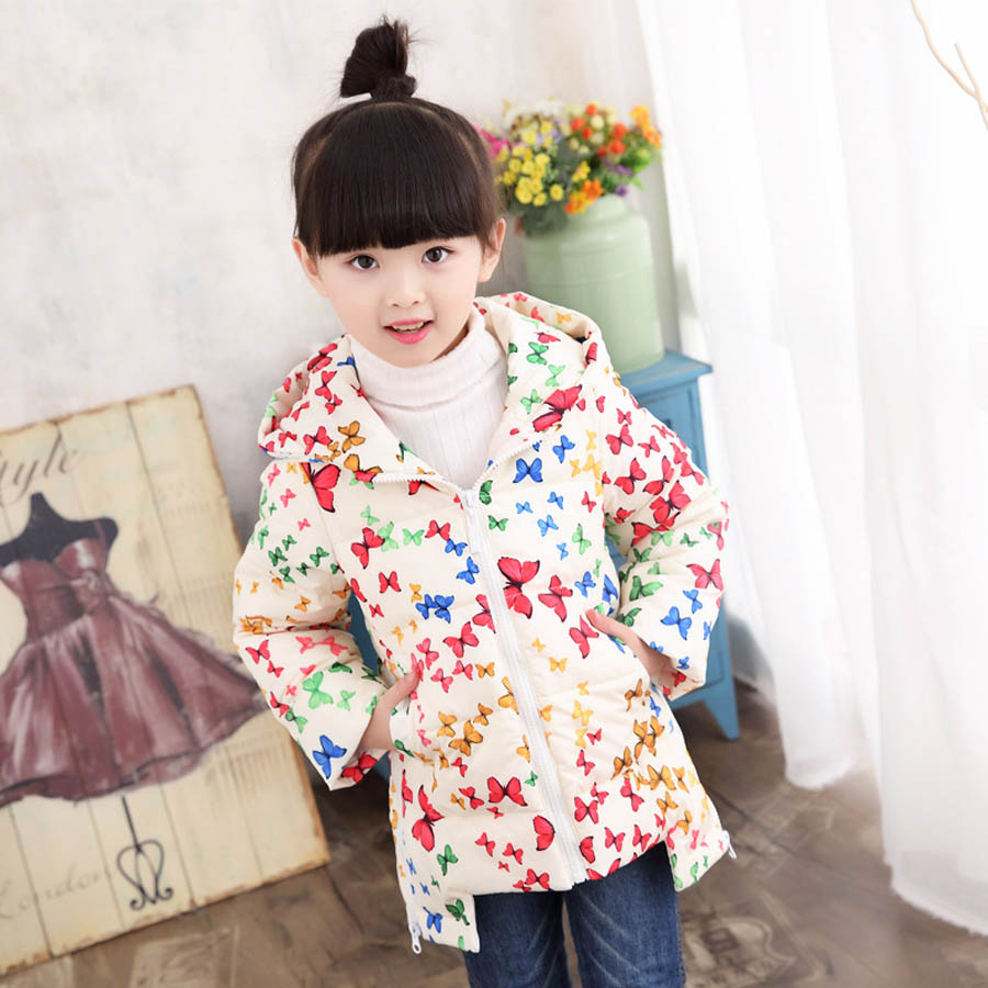 Winter Girl Long Down Jacket 2017 Fashion Cotton Long Sleeve Hooded Jacket Casual Warm Children's Outerwear christmas long hooded jacket girl 90